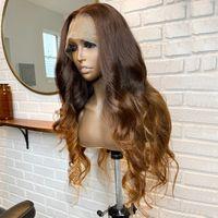 360 кружева передние человеческие волосы парики перуанские реми волосы шелковые верхние кружевные парики Омбре коричневая блондинка предварительно сорванный парик для женщин