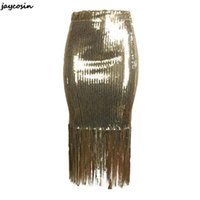 Skirts JAYCOSIN Women's Gold Sequins Striped Slim Sexy Skirt Evening Plus Size Fringe Dress 2021