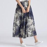 Etekler Sherhure 2021 Yüksek Bel Kadın Yaz Pamuk ve Keten Uzun Etek SAIA Kadın Çiçeği Baskı Boho Faldas Jupe Femme