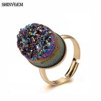 Anelli di nozze Shinygem Fashion 13 * 18mm Cristallo ovale Druzy Stone Fascino Rainbow Geode Sparkling regolabile per le donne regalo di gioielli