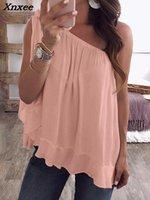 Kadın Bluz Gömlek 2021 Kadınlar Yaz Moda Skew Yaka Rahat Gömlek Bir Omuz Bağlı Ruffles Hem Gevşek Bluz XNXEE