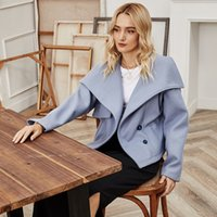 Fashion Slender Women Lightblue Korean Version Button of All-Race Herf And Winter Turn-Down collar want Short Fat Jackets
