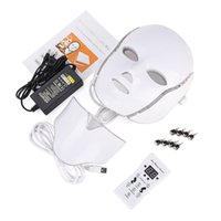 7 Color LED light Facial Neck Mask With Microcurrent Therapy face Beauty Machine  for skin whitening device dhl free shipment