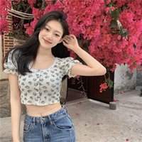 Summer Floral O-neck Crop Top Women's Clothing Slim Puff Sleeve Vintage Style T Shirts Fashion Brand Sexy Tees Ladies T-Shirt