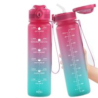 Lunidry Water Bottles With Straw Time Marker 1L Motivational Water Jug BPA-Free Leakproof Large Capacity Outdoor Gradient 210917