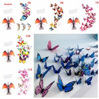 12pcs 3D Butterfly Wall Sticker PVC Simulation Stereoscopic Butterfly Mural Sticker Fridge Magnet Art Decal Kid Room Home Decor ZHL5590