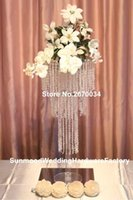 Party Decoration Tall Wedding Silver Metal Flower Stand , Crystal Centerpieces For Aisle Decor
