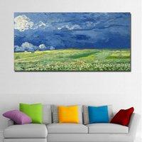 Wheatfield thunderclouds tarafından van gogh soyut sanat manzara boyama tuval üzerine baskı duvar sanatı oturma odası ev dekor için