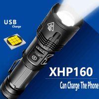 XHP160 LED سوبر مشرق مصباح يدوي usb قابلة للشحن XHP70.2 XHP50 التكبير الشعلة فانوس استخدام 5000mAh 18650 26650 بطارية 400000 مللي ثانية 210322