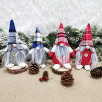 Party Favor Red Blue Buffalo Plaid Santa Claus faceless Doll Cute Christmas Ornament Xmas home Decoration