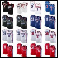 Vintage Allen 3 Iverson erkek Basketbol Formaları Joel 21 Embiid Ben 25 Simmons Jersey Şehir Siyah Mavi Kırmızı Beyaz Baskı Retro Gömlek