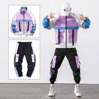 Men's Tracksuits 2021 Hip Hop Workwear Jacket Mens Tracksuit Jacket+Pants 2PC Sets Baseball Loose Zipper Ribbons Coat & Long Pants Clothes