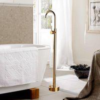 Badkar Bink Faucets Floor Mounted Gold Brass Badkar Mixers Free Stående Och Kall Dusch Set Lyx Hand Kranar Badrumsuppsättningar