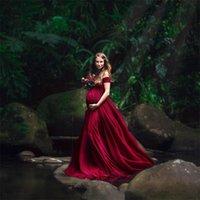사진 촬영을위한 우아한 출산 드레스 섹시한 V 넥 어깨 임신 사진 드레스 임신 여성 파티 맥시 드레스 832 v2