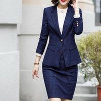 Юбка костюма офисная одежда 4XL плюс размер 2 частей набор синей полосой куртка юбка костюм интервью хост карьеры леди рабочая костюм 622