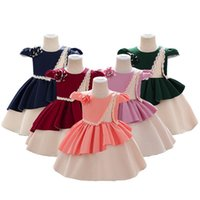 Girl's Dresses Baby Princess Toddler Child Girls Tutu Dress Party Wedding Birthday For Kid Bow Satin Cloth Costumes 1-5 Years 2021