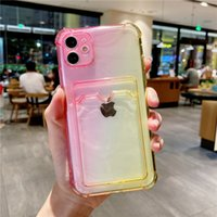 Gradient Transparent Card Bag Phone Case For iphone 13 12 11 Pro Max XR XS Max X 7 8 Plus 12Pro 11 Shockproof Soft Clear Back Cover