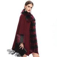 الشتاء السيدات معطف طويل بونشو فو الفراء زائد الحجم طباعة شال سترة مهدب منقوشة سترة عباءة امرأة الاستمرار الدافئة معطف السيدات كارديج
