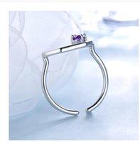 CAFFE007 Natural Amatista Gemstone 925 Anillo de plata esterlina damas regalo de boda ajustable