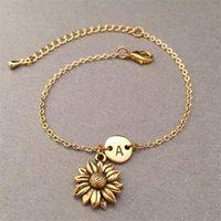Pulsera con encanto de girasol jardinería con letras Joyas de oro / enlace de silvitación inicial 22 + 5 cm Pulseras de extensiones