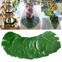 12pcs Lot Hawaii Tropical Artificial Palm Leaves Plants Summer Beach Luau Party Birthday Wedding Theme Decoration For Home Decorative Flower
