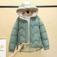 2021 قصيرة الشتاء سترة المرأة ستر معطف مقنعين الصلبة الخريف الدافئة البخاخ الملابس