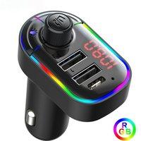 RGB MP3 Player Bluetooth 5.0 FM-передатчик Беспроводной автомобильный комплект громкой связи с 3.1a USB Type C Зарядное устройство красочный свет Быстрая зарядка