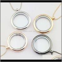 Anhänger Schmucksachen-Halsketten für Frauen 30 mm LEBEN LEBENDE MEMORY FLOATING Charms Medaillon Anhänger mit Perlenkette 4 Farbe Drop Lieferung