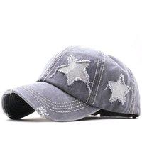 Chapéus de rabo de cavalo lantejoulas pentagram baseball boné lavado hole net chapéu clássico tampas de bola mulheres ajustáveis esporte ao ar livre headgear 5colors ccd7910