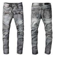 Designer di lusso Mens Jeans Brand Lavato Design Grigio Gambe Denim Denim Pantaloni Moda Club Abbigliamento Maschile Hip Hop Skinny Moto Moto Biker Jean Pantaloni jean taglia 28-40