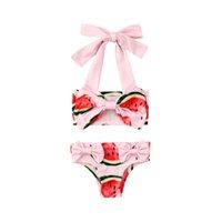 Yaz Kızlar Beachwear Karpuz Baskı Mayo Mayo Çocuk Giyim Seti Iki Parçalı Yüzme Suit Mayo
