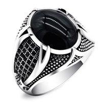 結婚指輪のレトロな手作りのイスラムリング男性のビンテージトルコ二重刀剣黒CZストーンパンク2021トレンディな宗教的なイスラム教のジュエリー