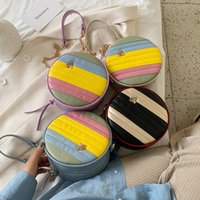 INS 소녀 무지개 원형 지갑 어린이 금속 트리 체인 메신저 가방 키즈 원 - 어깨 가방 디자이너 미니 지갑 A5625