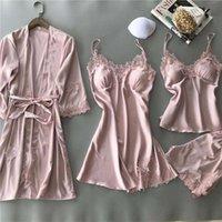 Mujeres sexy encaje seda bata vestido dormir baño salón 4 piezas conjunto sólido túnicas dormir pijamas femme hogar ropa camisón