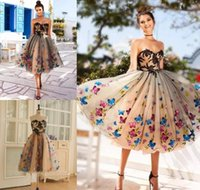 Colorful Butterfly Prom Dresses Sweetheart Black Appliques Evening Gowns Champagne Lace Up Back Tea Length Cocktail Party Dress