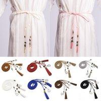 Belts Womens Stylish Thin Belt Ladies Braided Tassel Knot Decor Dress Waistband