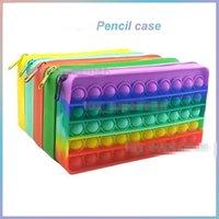 DHL Fidget Toys pencil case Colorful Push Bubble Sensory Squishy Stress Reliever Autism Needs Anti-stress Rainbow Adult Toy For Children
