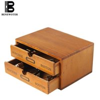 Caja de almacenamiento de la caja de escritorio de madera de la vendimia Caja de almacenamiento Cosmetic Sundries Contenedor Oficina de la oficina de la oficina de la oficina de los cajones de decoración del hogar