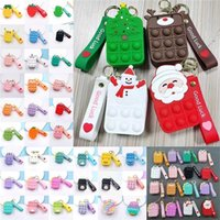 Fidget toys Solid Rainbow Color Mini Bubbles Bag Sensory Rubber Silicone Purse Key Ring Bubble Puzzle Cases Wallet Coin Bags Keychain Gifts DHL