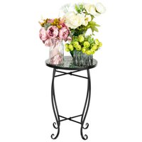 Living Room Furniture adorable Artisasset Mosaic Round Terrace Accent mini Table With Coloured Glass Green Flowers pattern for outdoor indoor