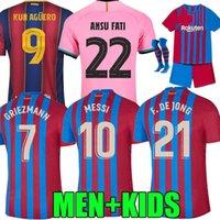 21 22 Barcelona Fussball Jersey Memphis Home Camisetas de Football Hemd Messi Barca Kun Aguero Ansu Fati 2021 2022 GRIEZMANN F.de Jong Dest Herren + Kinder Kit Sets Socken Tops