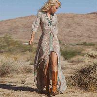 Teyynn Boho Dress Long Vintage Stampa floreale Chiffon Tre quarti manica con scollo a V estate Gypsy Hippie Donne Abiti Abiti Vestidos 210324