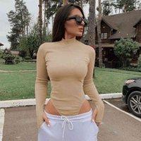 Katı Nervürlü Örgü Y2K Uzun Kollu Kadın Bodysuit Kadınlar Balıkçı Yaka Üst Güz 200 Yeni Kış Bodycon Sıcak Ince Vücut Takım Elbise Seksi 210329