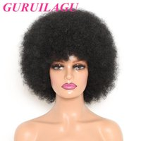Synthetic Wigs GURUILAGU Afro Wig Women Short Fluffy Hair For Black Kinky Curly Cosplay With Bangs