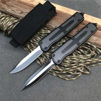 Top Quality Automatic Tactical Knife 440C Black Oxide + Wire Drawing (Two-tone) Blade Zn-al Alloy Handle EDC Pocket Knives With Nylon Bag