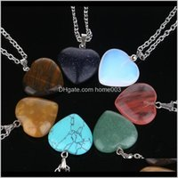 Pendants Drop Delivery 2021 Natural Gem Stone Love Heart Necklaces & Pendant For Lover Pink Quartz Lapis Lazuli White Crystal Onyx Healing Je