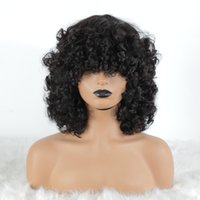 Brazilian Short double drawn funmi Curl human hair Wig For Women 150 Density Scalp Top Curly Full Machine Made non lace Wigs with Bangs Remy