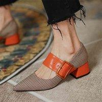 Мэри Джейн Обувь Женщина Мода 2021 Весенний Бренд Дизайн Женщины Насосы Высокие каблуки Femme Направляющие Нойс Партия Дама Обувь Чешины Женщины