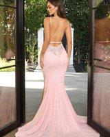 Pink Elegant Prom Dresses Mermaid V-Neck Spaghetti Strap Sequins Applique Split Backless Sweep Train Plus Size Women Evening Gowns
