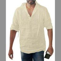 T-shirt pour hommes Baggy Coton Linge Solide Bouton Solide Plus Taille À manches longues Chemises à capuche Tops Homme Chemise Hommes Vêtements